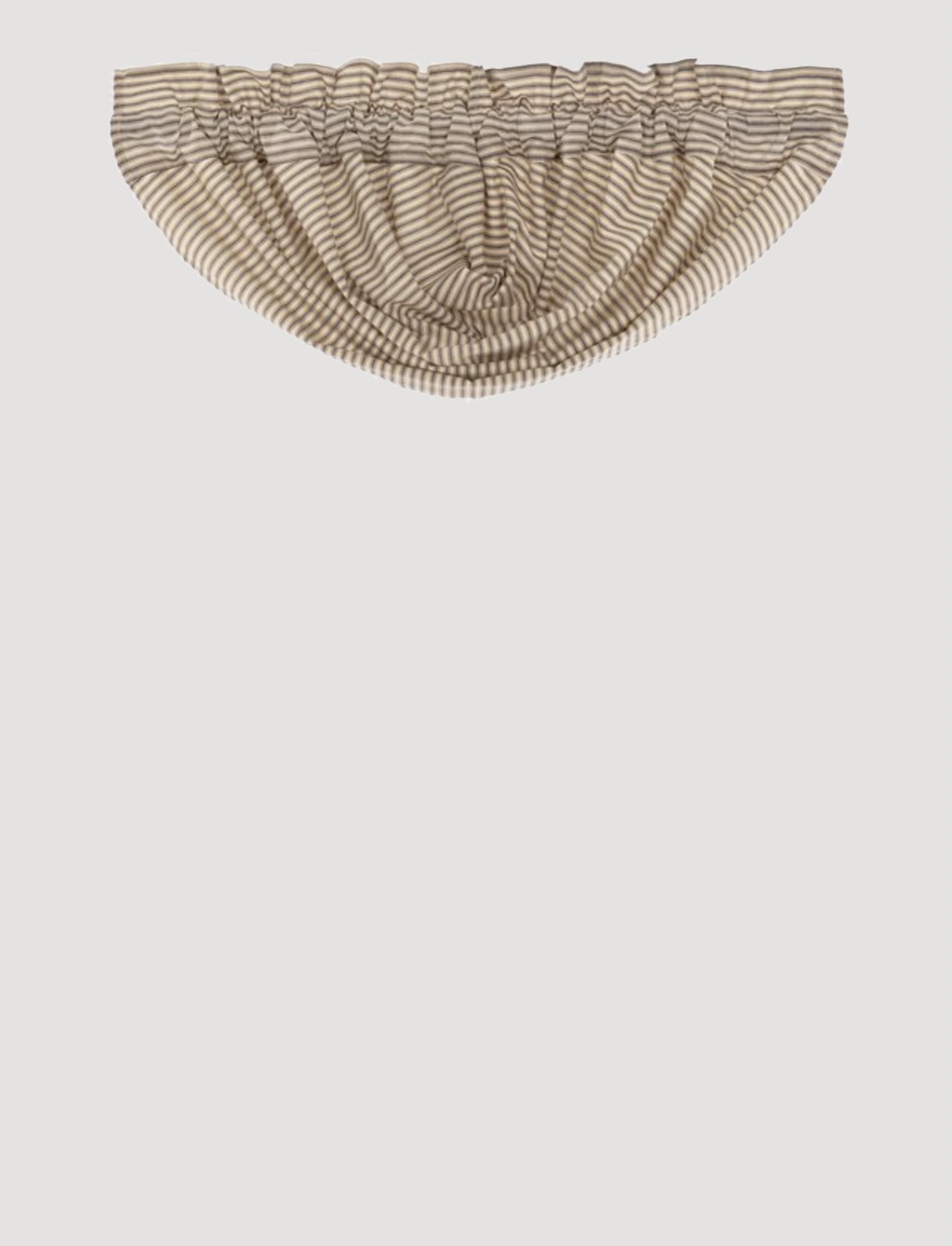 "VHC Brands Sawyer Mill Charcoal Ticking Stripe Balloon Valance 15"" x 60"""