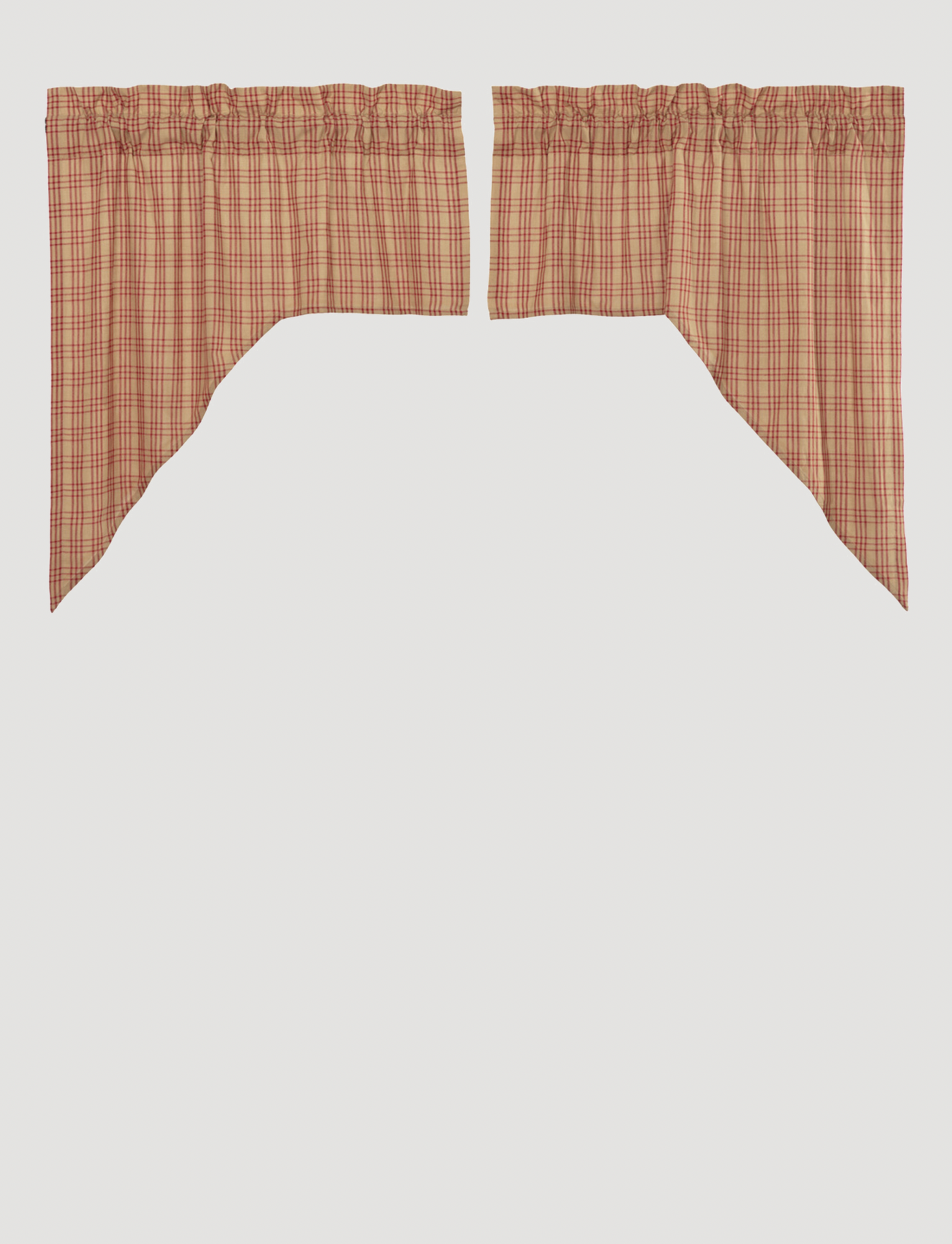 """VHC Brands Sawyer Mill Red Plaid Swag Set of 2 36"""" x 36"""" x 16"""""""