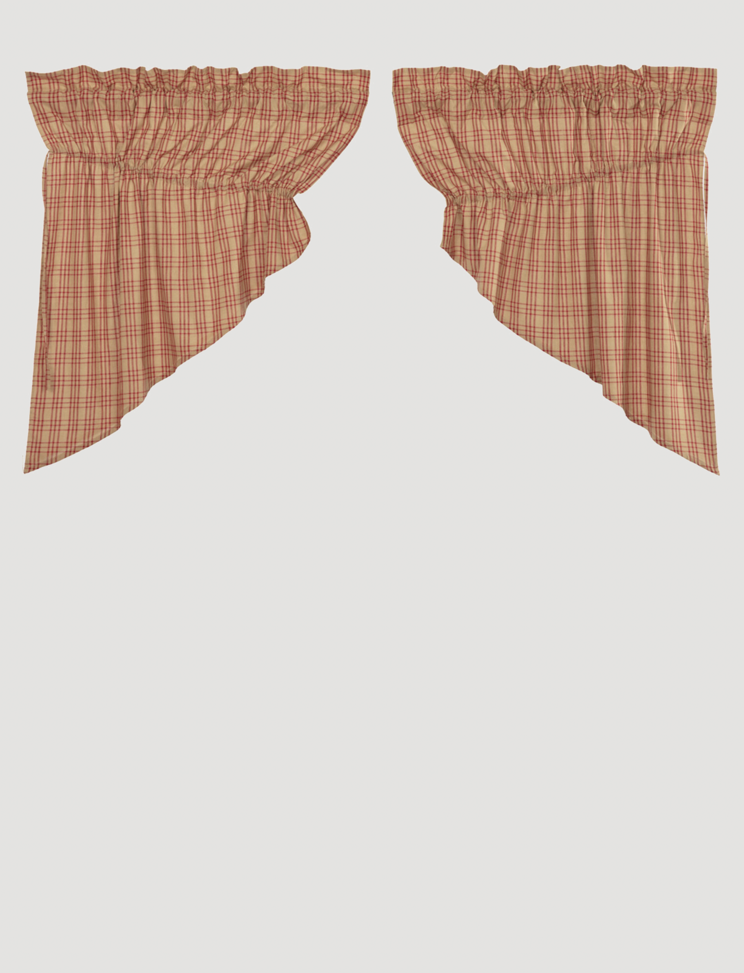 "VHC Brands Sawyer Mill Red Plaid Prairie Swag Set of 2 - 36"" x 36"" x 18"""