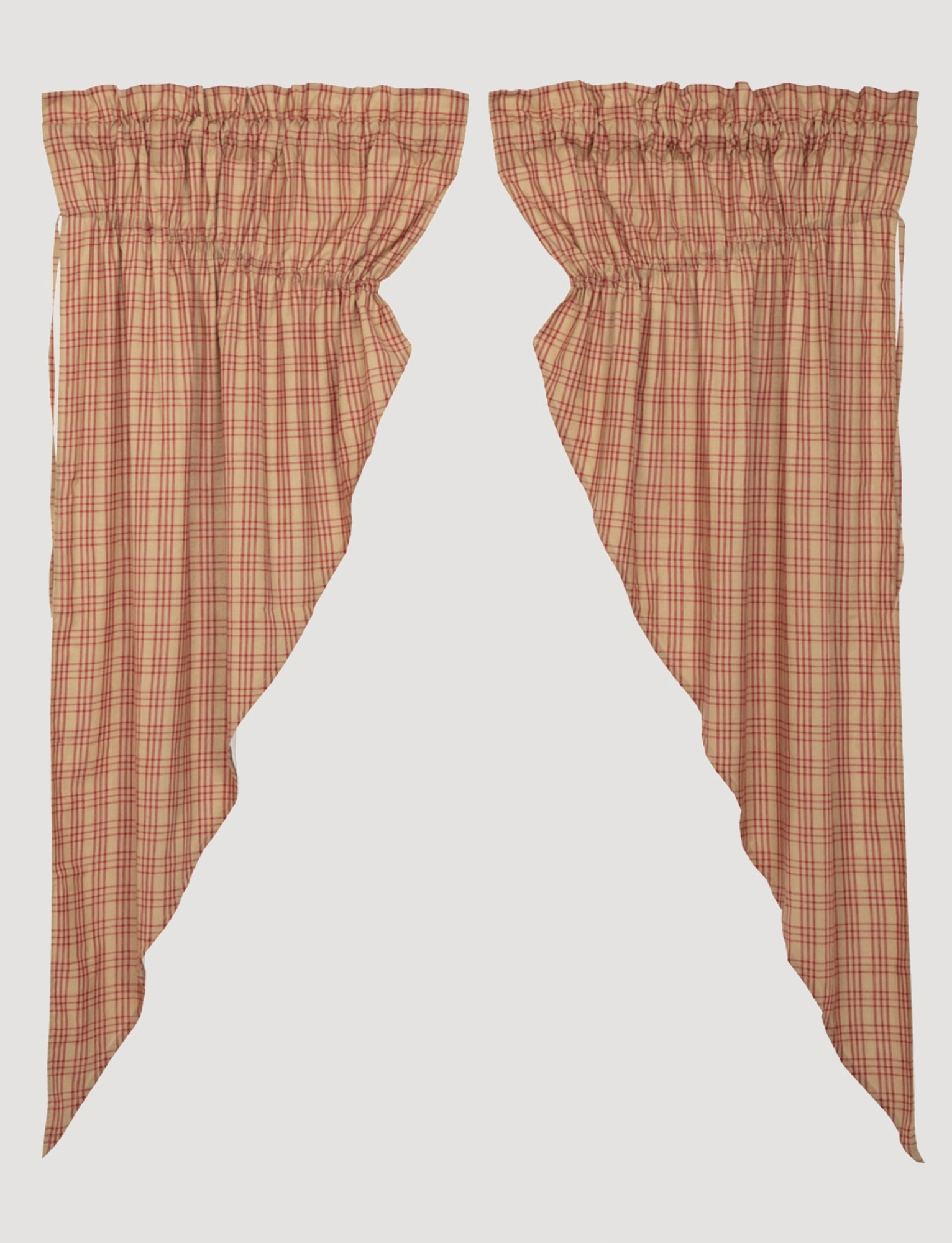 VHC Brands Sawyer Mill Red Plaid Prairie Panel - Set of 2