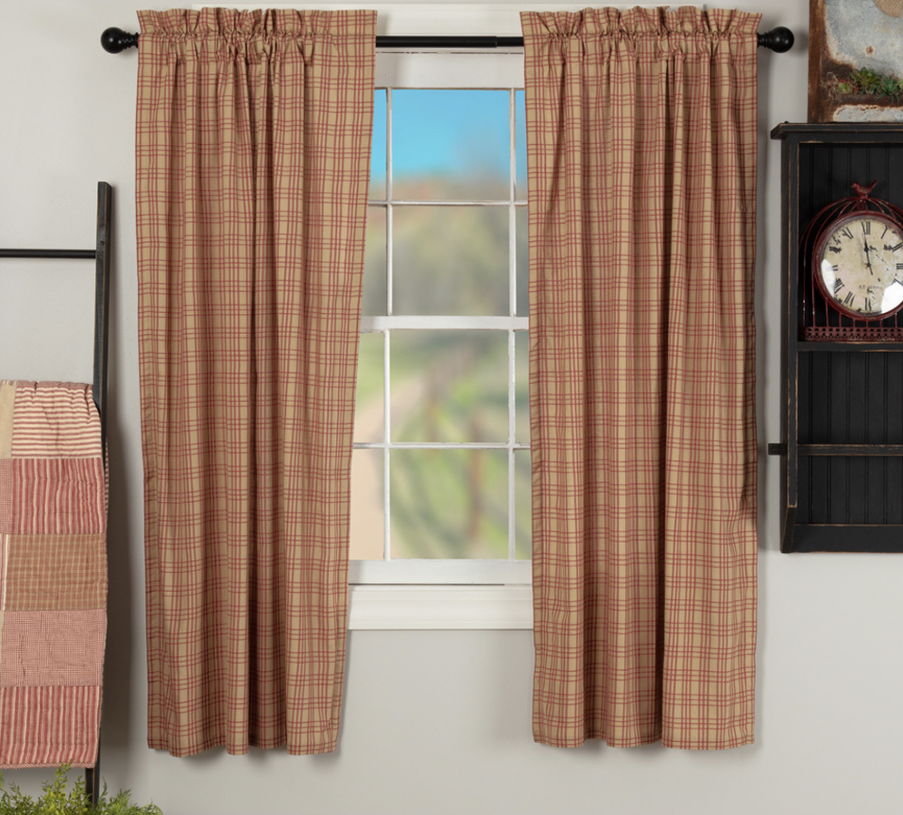 VHC Brands Sawyer Mill Red Plaid Panels - Set of 2