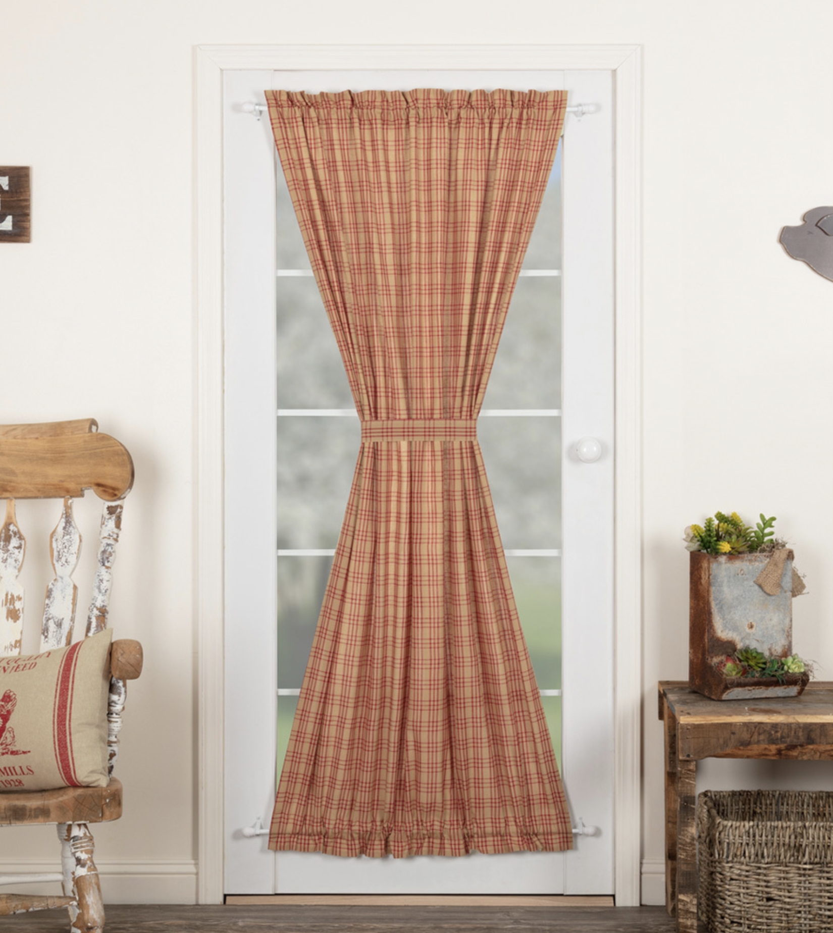 "VHC Brands Sawyer Mill Red Plaid Door Panel 72"" x 40"""