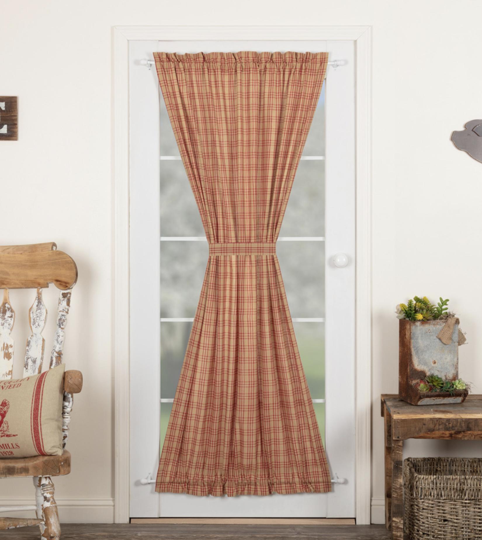 "VHC Brands Sawyer Mill Red Plaid Door Panel 72"" x 40"""