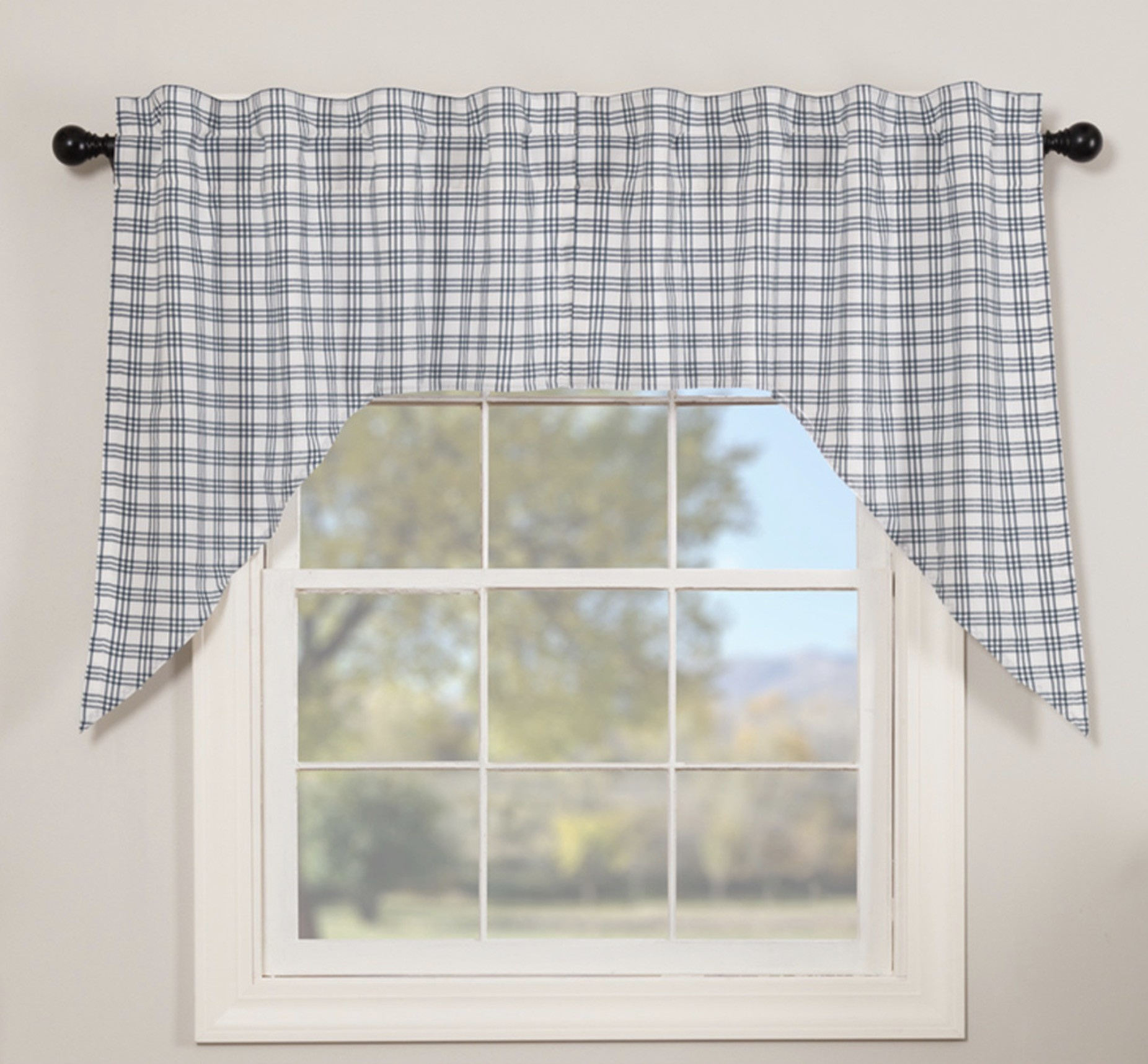 "VHC Brands Sawyer Mill Blue Plaid Swag Set of 2 - 36"" x 36"" x 18"""