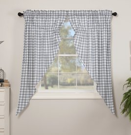 VHC Brands Sawyer Mill Blue Plaid Prairie Panel Set