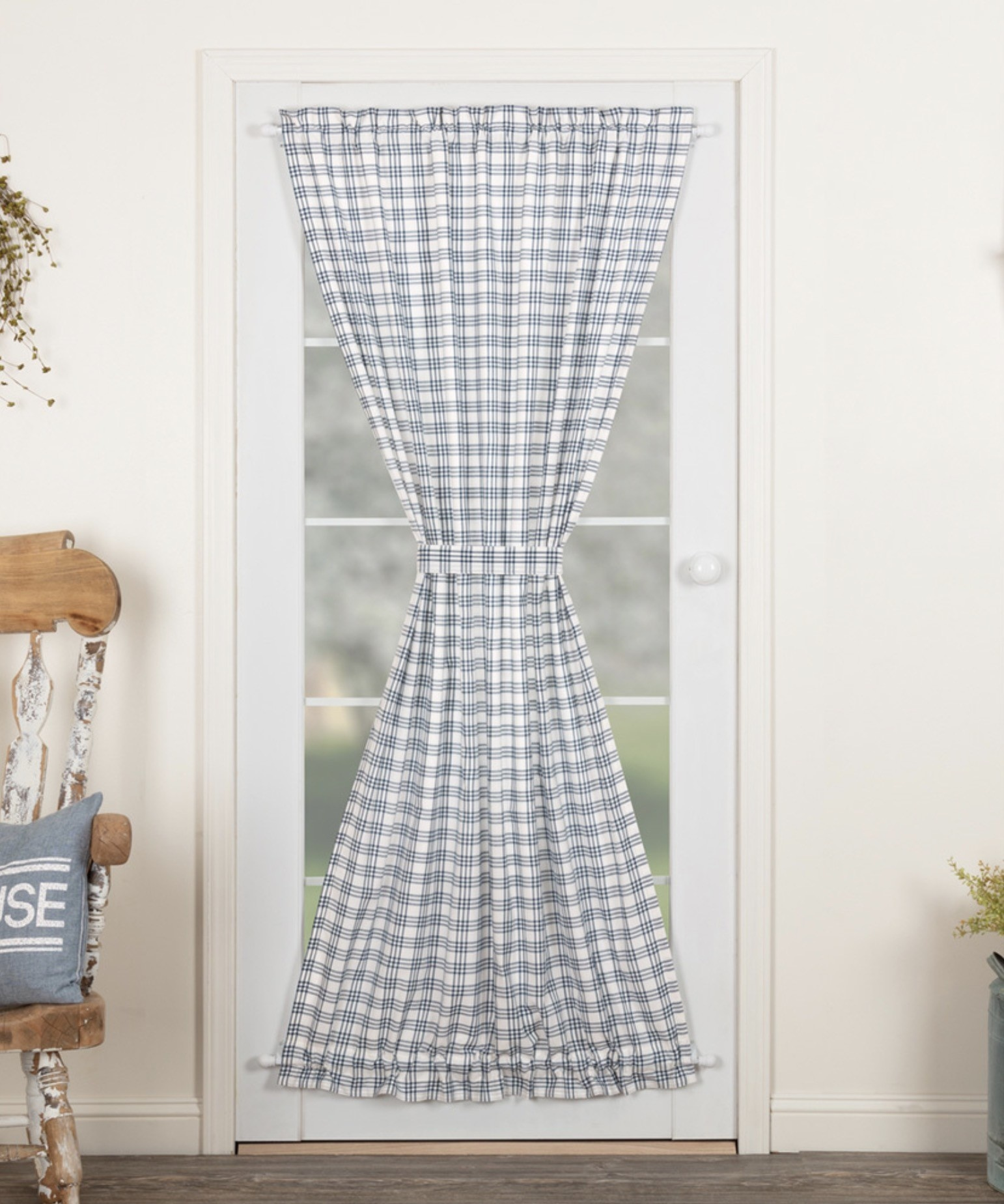 "VHC Brands Sawyer Mill Blue Plaid Door Panel 72"" x 40"""