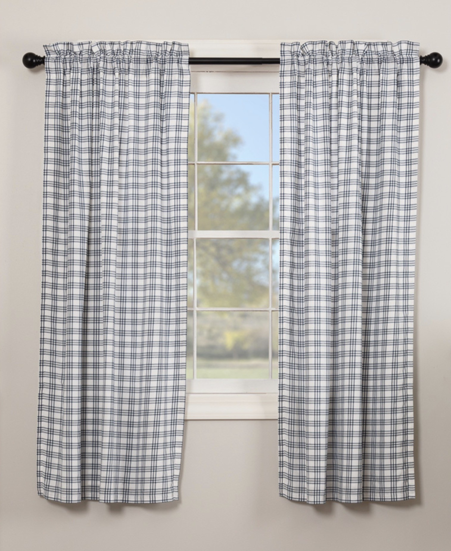 VHC Brands Sawyer Mill Blue Plaid Panels - Set of 2