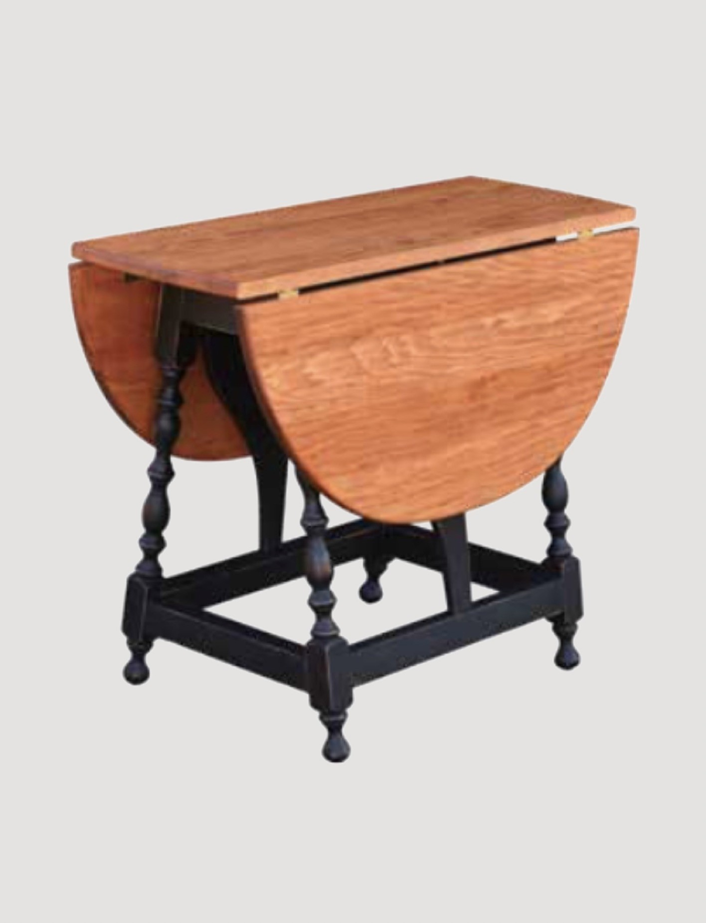 Nana's Farmhouse Butterfly Table with Pine Top & Black Rubbed Legs