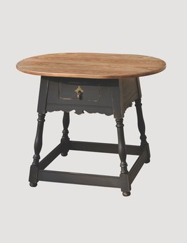 Primitive Designs Tavern Table with Pine Top & Black Rubbed Legs