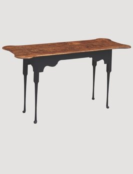 Nana's Farmhouse Porringer Sofa Table with Tiger Maple Top & Black Rubbed Legs