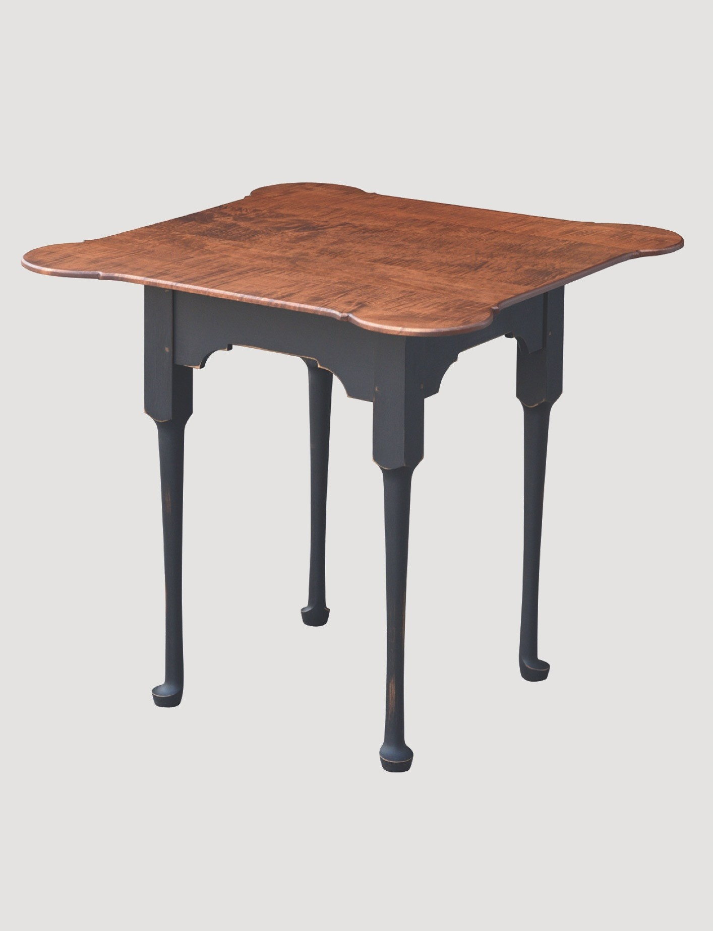 Primitive Designs Porringer Game Table with Tiger Maple Top & Black Rubbed Legs