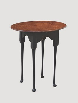 Nana's Farmhouse Oval End Table with Tiger Maple Top