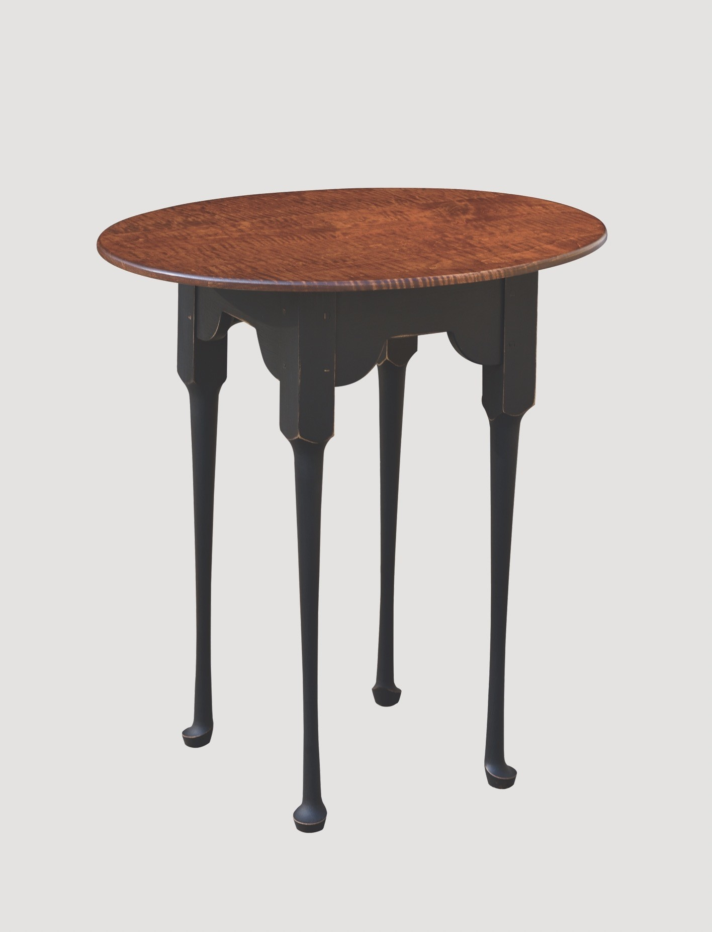 Primitive Designs Oval End Table with Tiger Maple Top