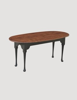 Primitive Designs Oval Coffee Table with Tiger Maple Top with Black Painted Legs
