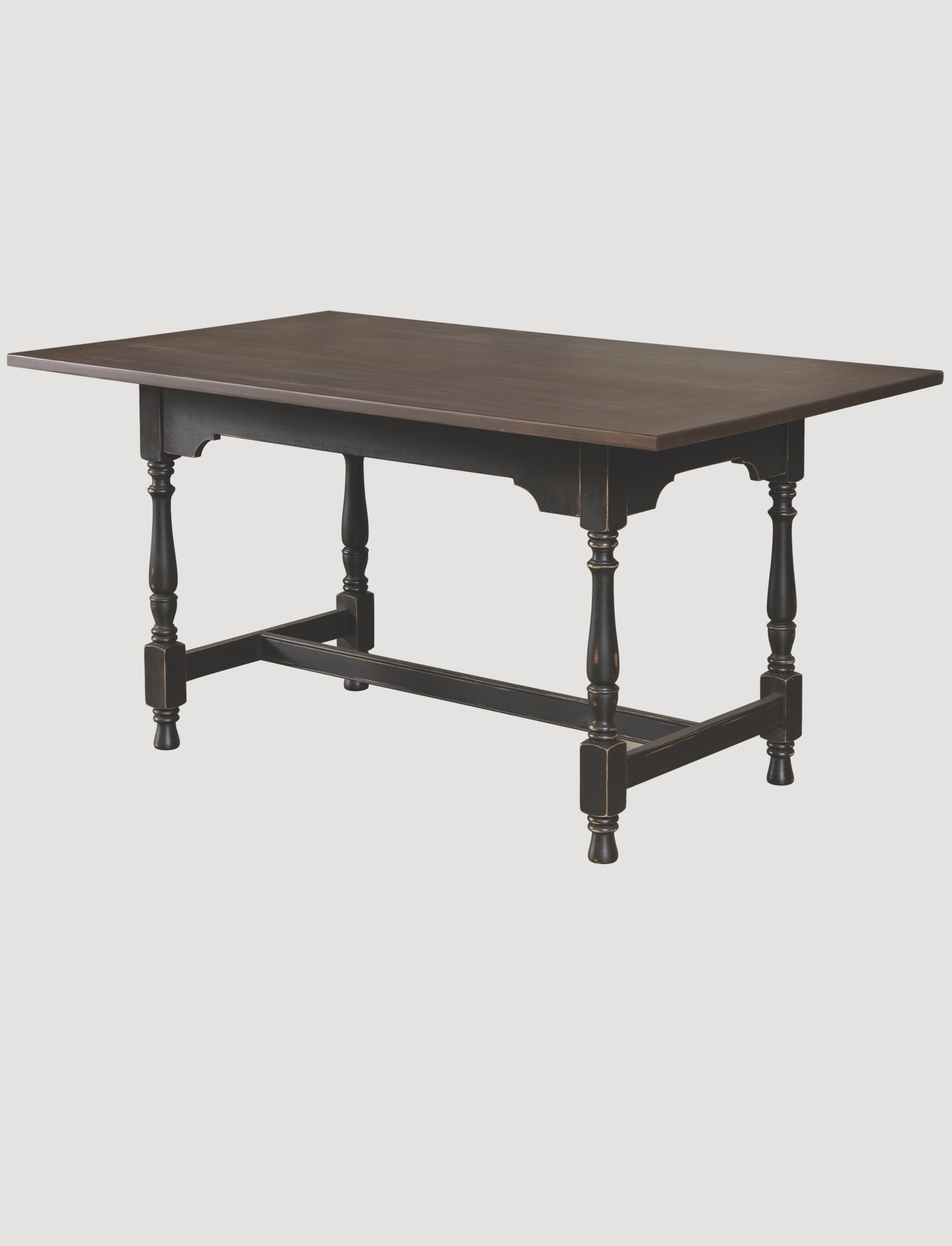 Nana's Farmhouse William & Mary Table Pine Top with Black Rubbed Legs