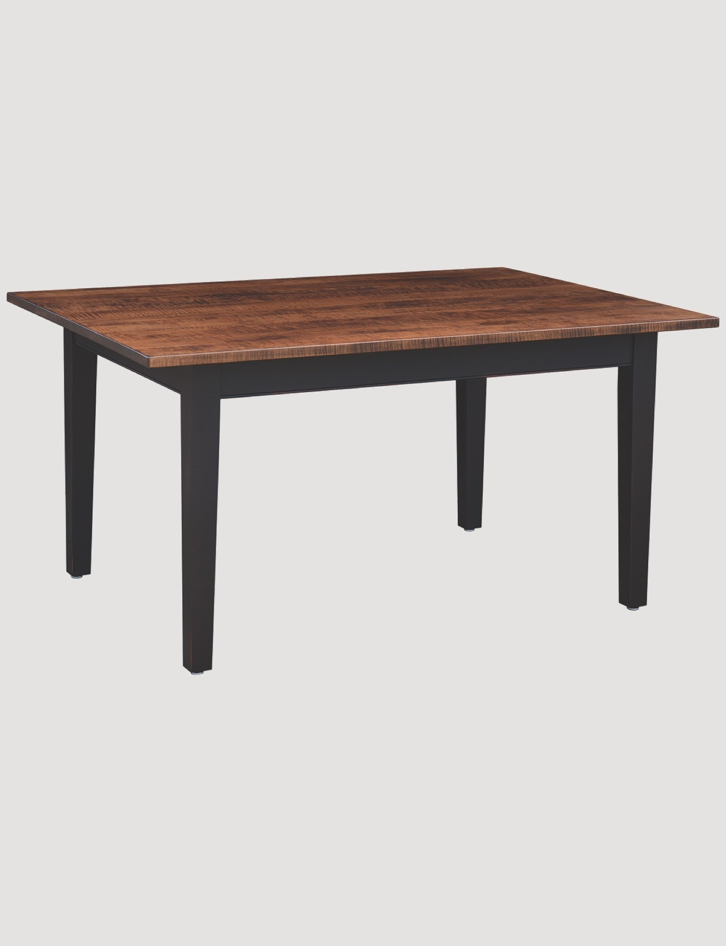 Primitive Designs Farm Tiger Maple Top Dining Table with Black Rubbed Legs