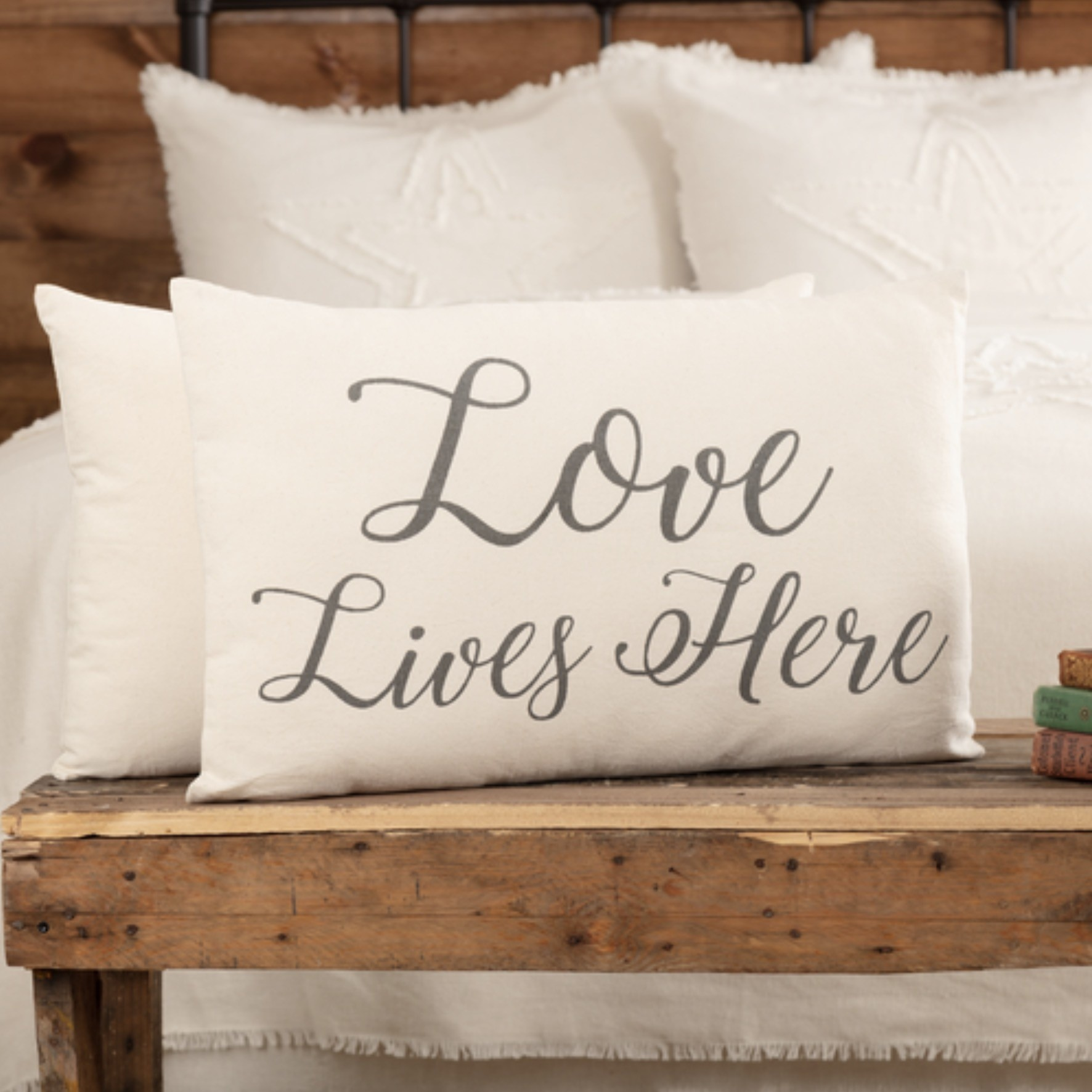 "VHC Brands Casement Natural Love Lives Here Pillow 14""x22"""