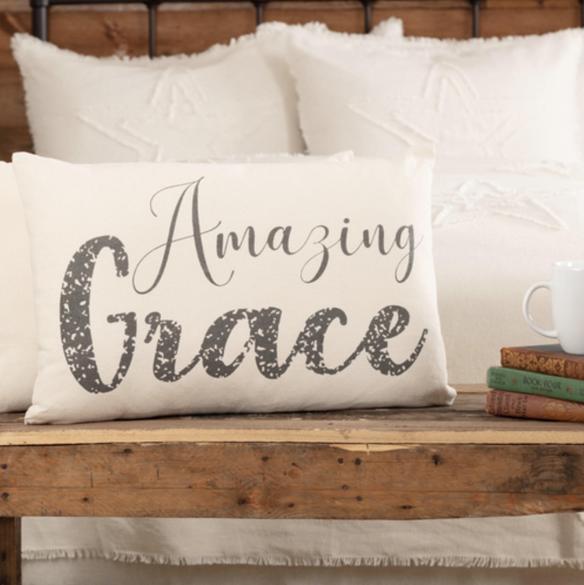 """VHC Brands Casement Natural Amazing Grace Pillow 14""""x 22"""""""