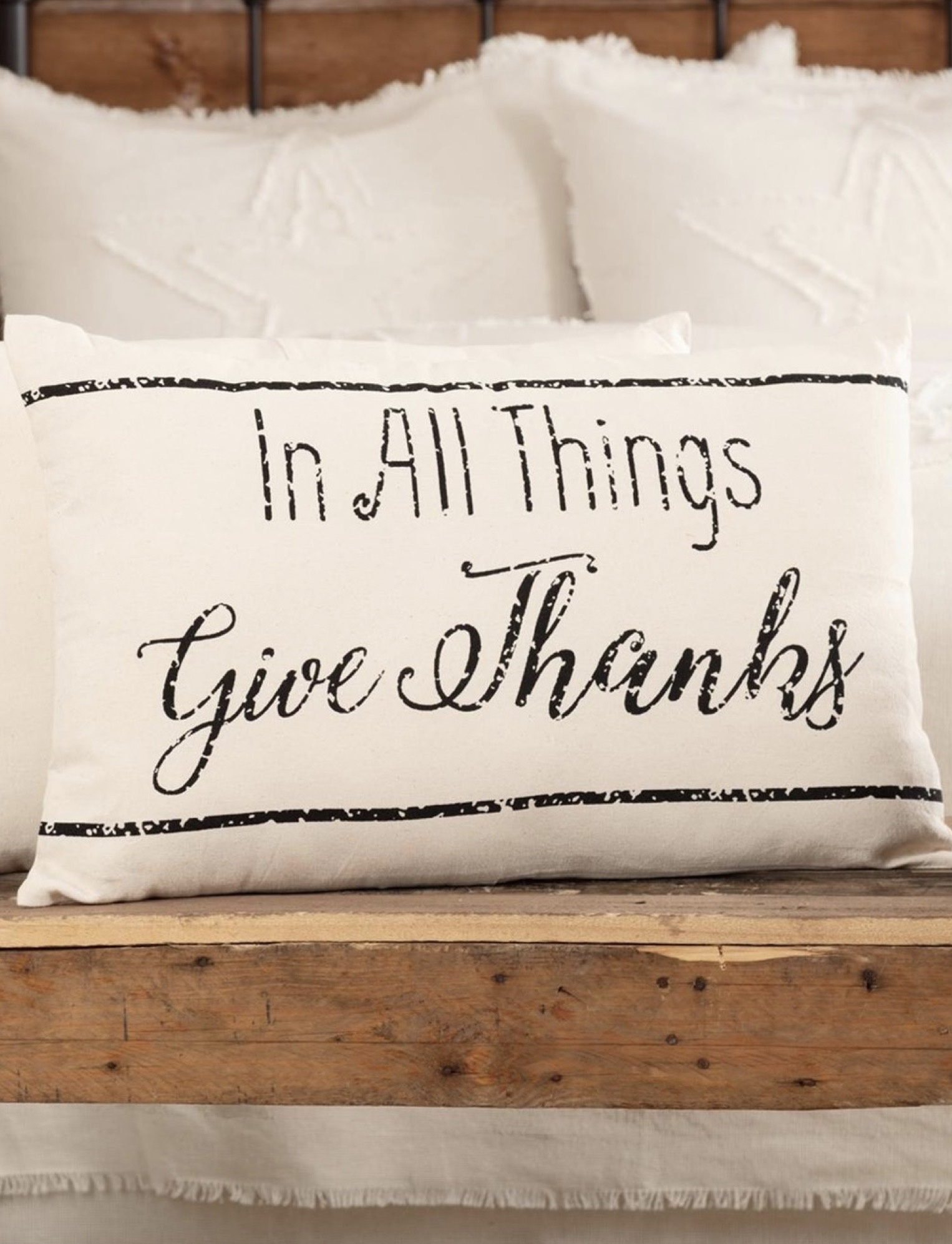"""VHC Brands Casement Natural In All Things Give Thanks Pillow 14""""x22"""""""