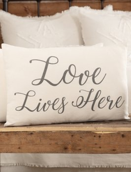 VHC Brands Casement Natural Love Lives Here Pillow
