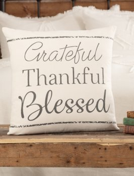 VHC Brands Casement Natural Grateful Thankful Blessed Pillow