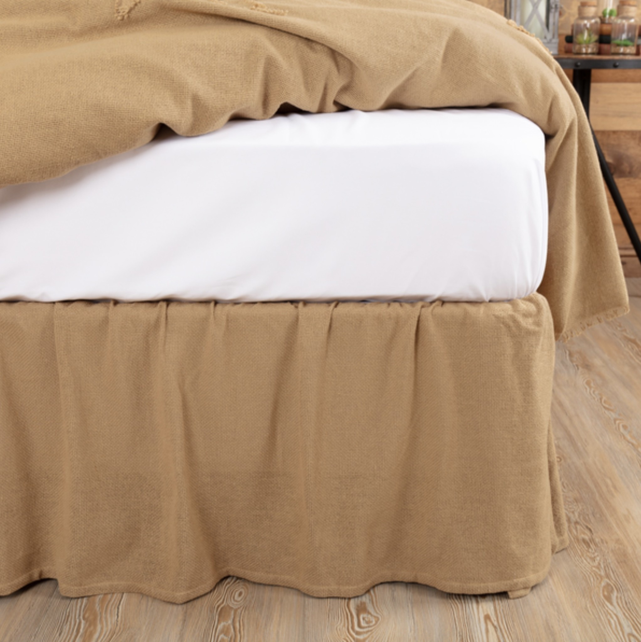 VHC Brands Burlap Natural Ruffled Fringe Bed Skirt