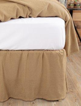 VHC Brands Burlap Natural Ruffled Fringe Bed Skirt