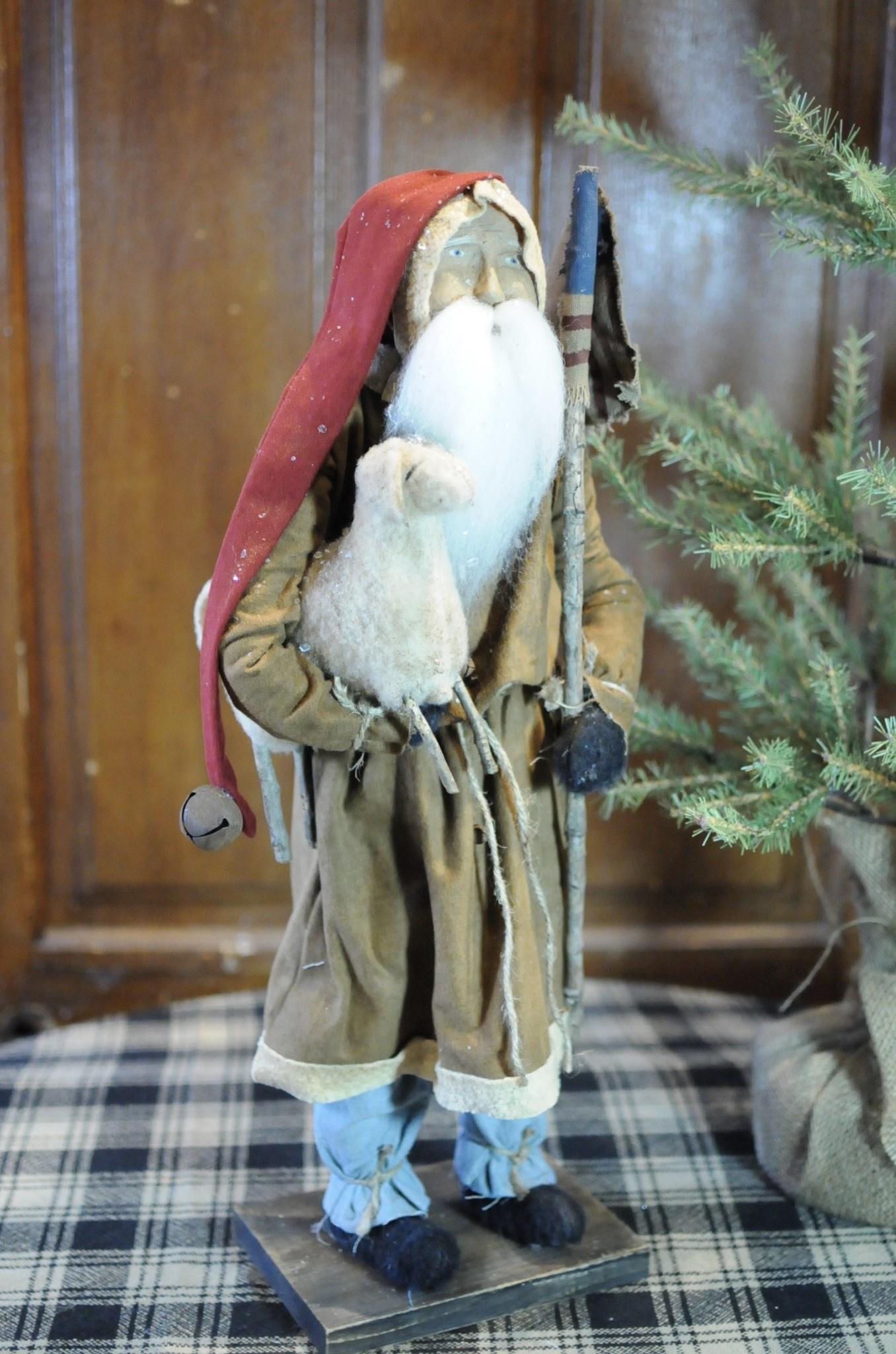 Arnett's Arnett's Santa Brown Coat Holding Sheep & Flag TYC3