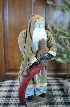 Arnett's Arnett's Santa Brown Homespun Coat with Red Stocking & Gingerbread AC5