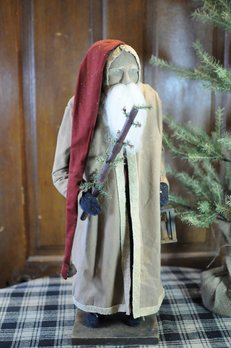 Arnett's Arnett's Santa Tall with Tobacco Tan Coat Holding Lantern & Tree AC14