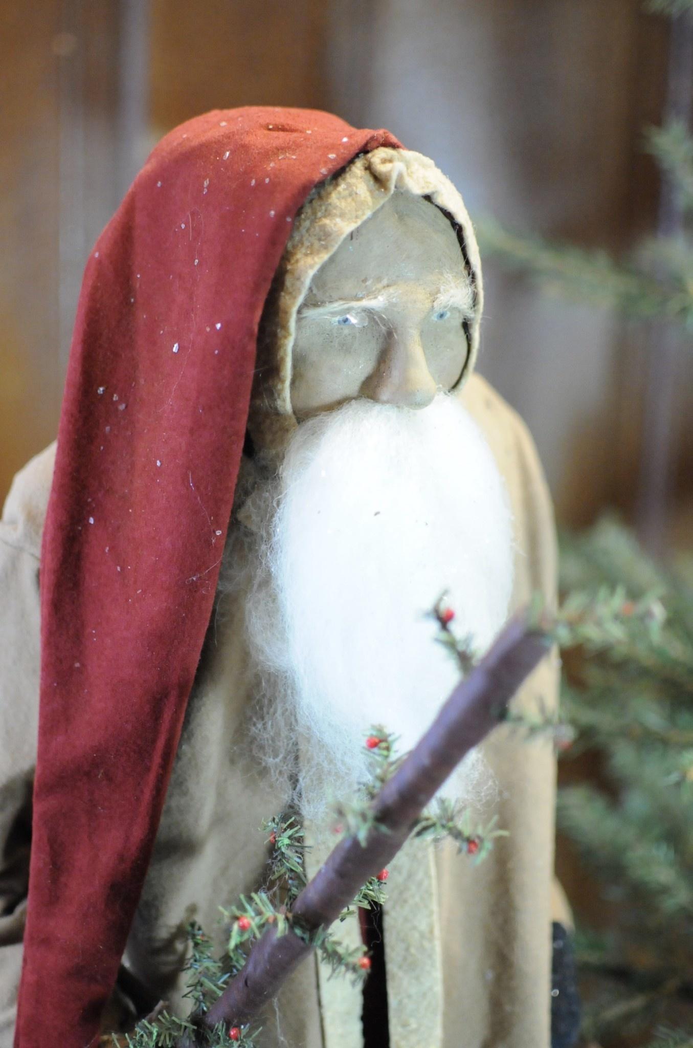 Arnett's Arnett's Santa Tall with Tobacco Tan Coat Holding Lantern & Tree AC14