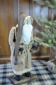Arnett's Arnett's Santa Tobacco Tan Coat Holding Wreath & Bell TYC4