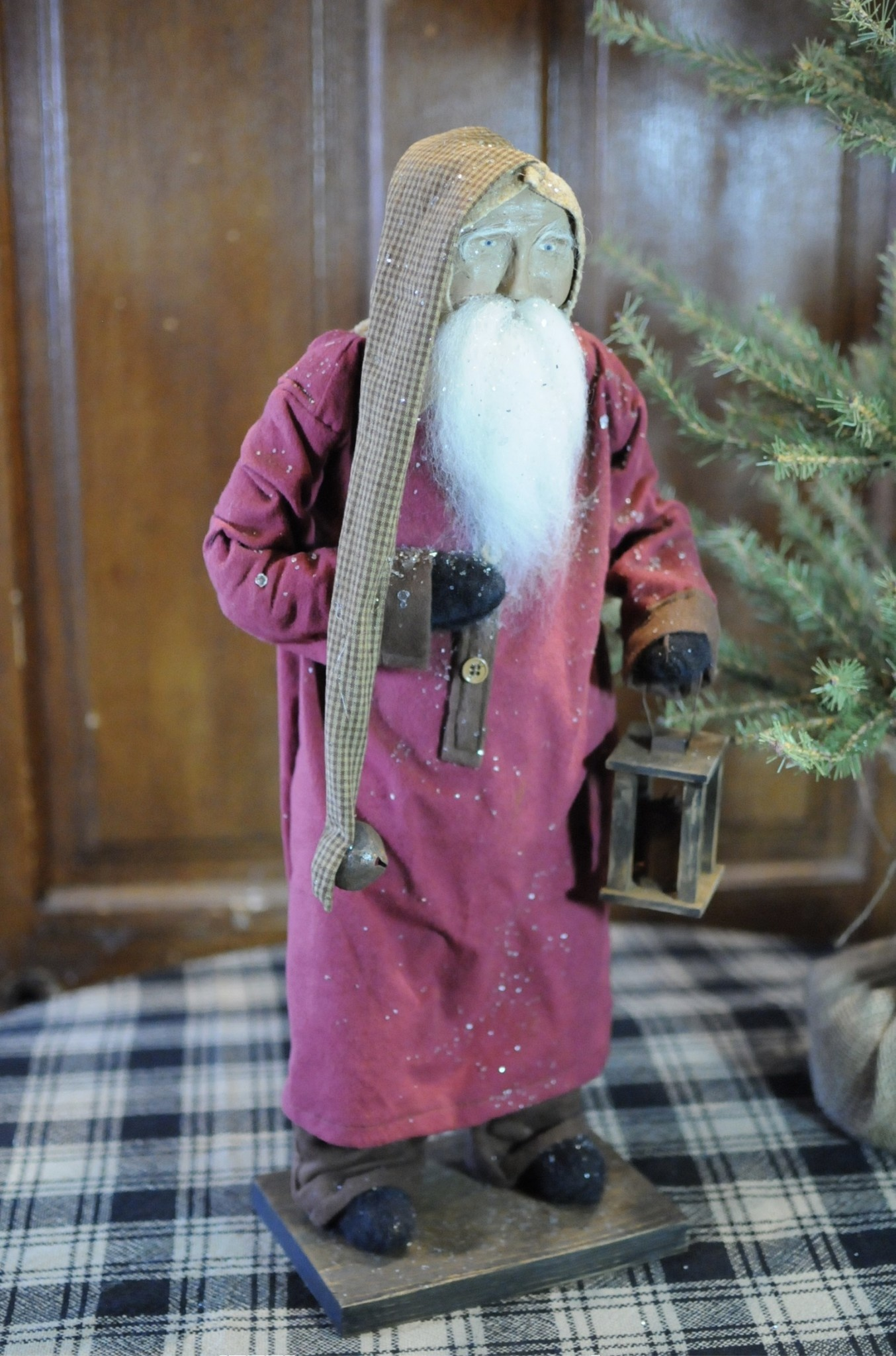 Arnett's Arnett's Santa Red Flannel Night Shirt with Homespun Trim Holding Lantern AC4