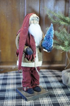 Arnett's Arnett's Santa Brown Coat Holding Bottle Brush Tree JPC10