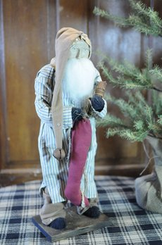 Arnett's Arnett's Santa Blue Stripe Night Shirt Holding Stocking & Candle AC7