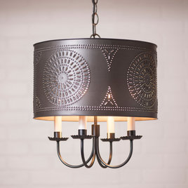 Irvin's Tinware Drum Chandelier in Kettle Black