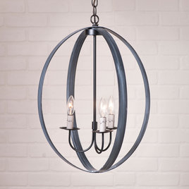 Irvin's Tinware Farmhouse Oval Sphere Chandelier in Black