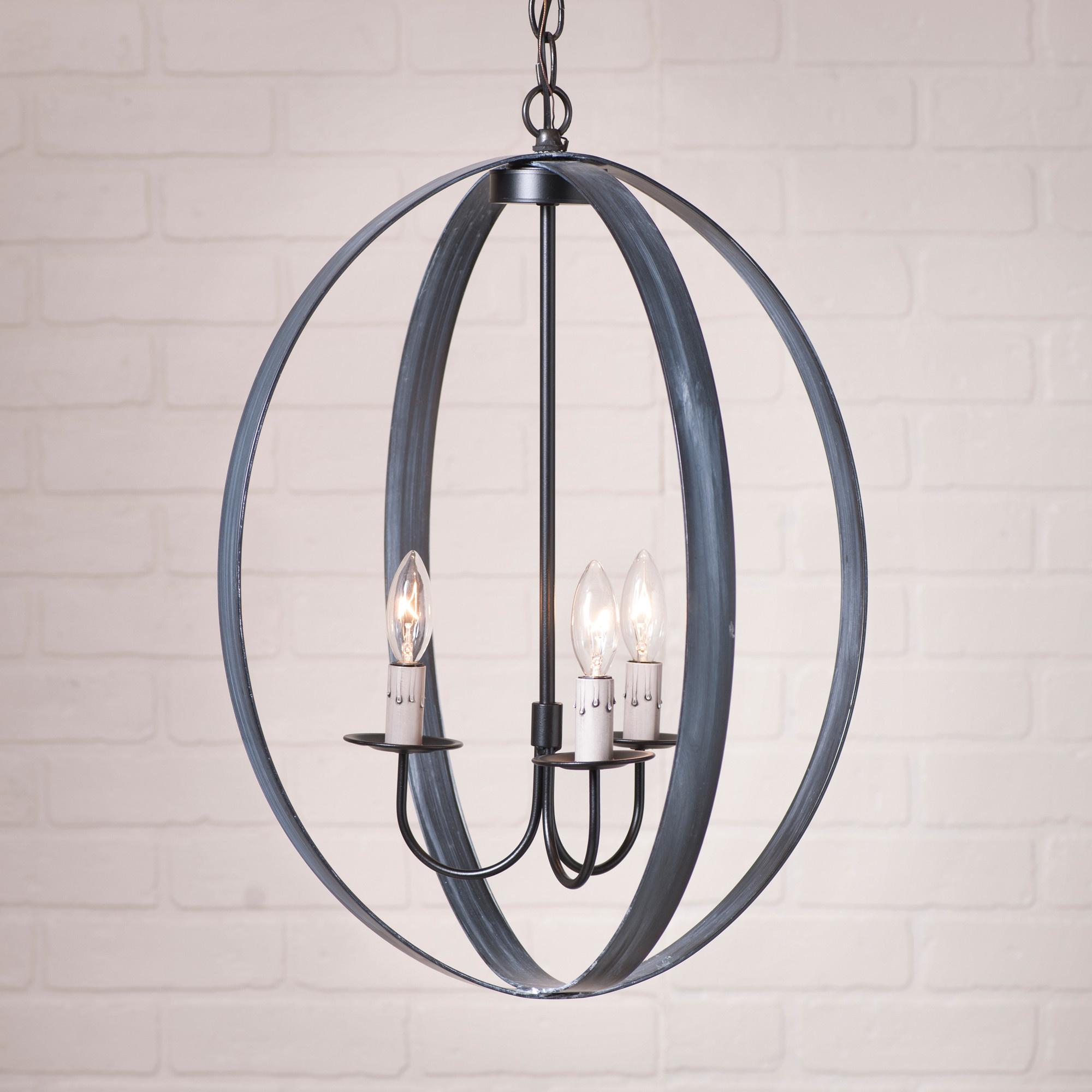 "Irvin's Tinware 20"" Oval Sphere Chandelier in Black"