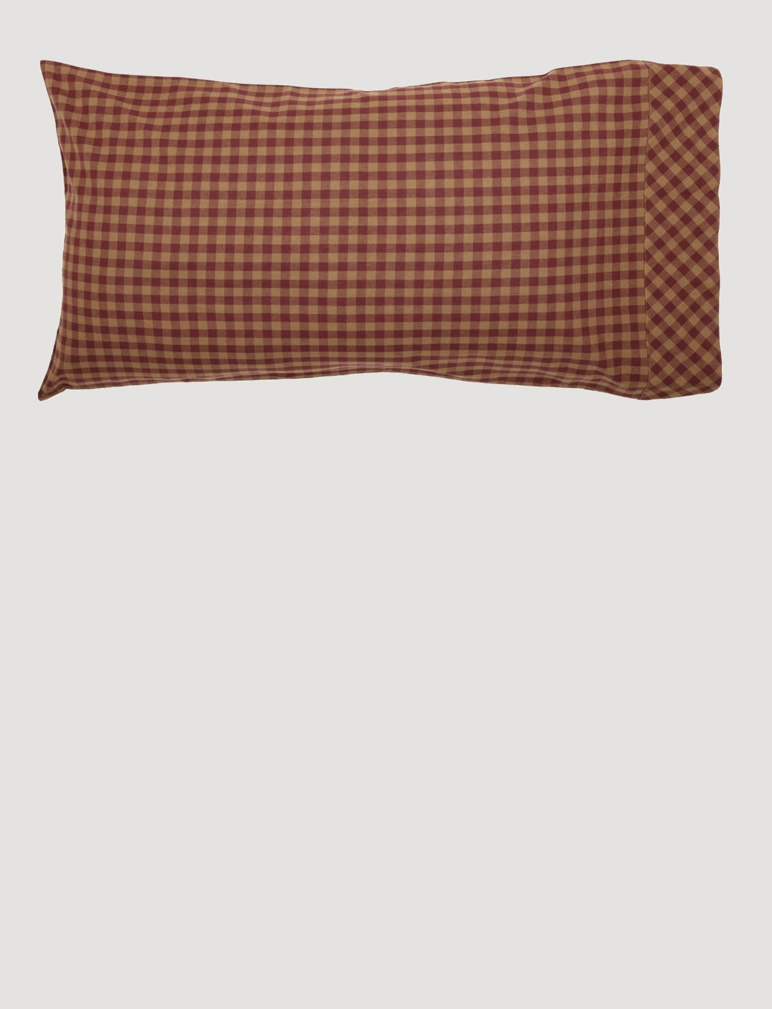VHC Brands Burgundy Check Pillow Case Set