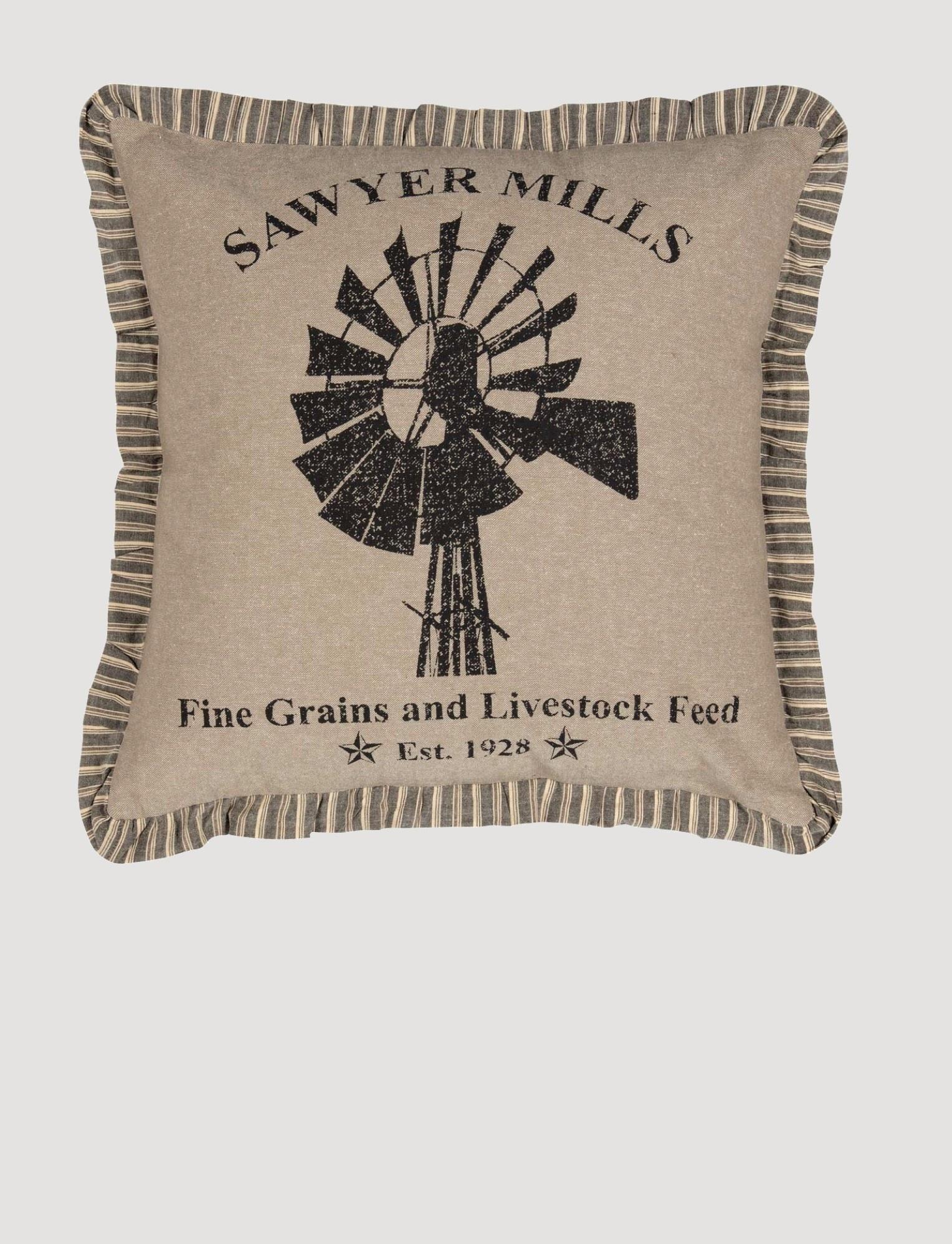 VHC Brands Sawyer Mill Charcoal Windmill Pillow