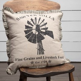 VHC Brands Sawyer Mill Charcoal Windmill Pillow