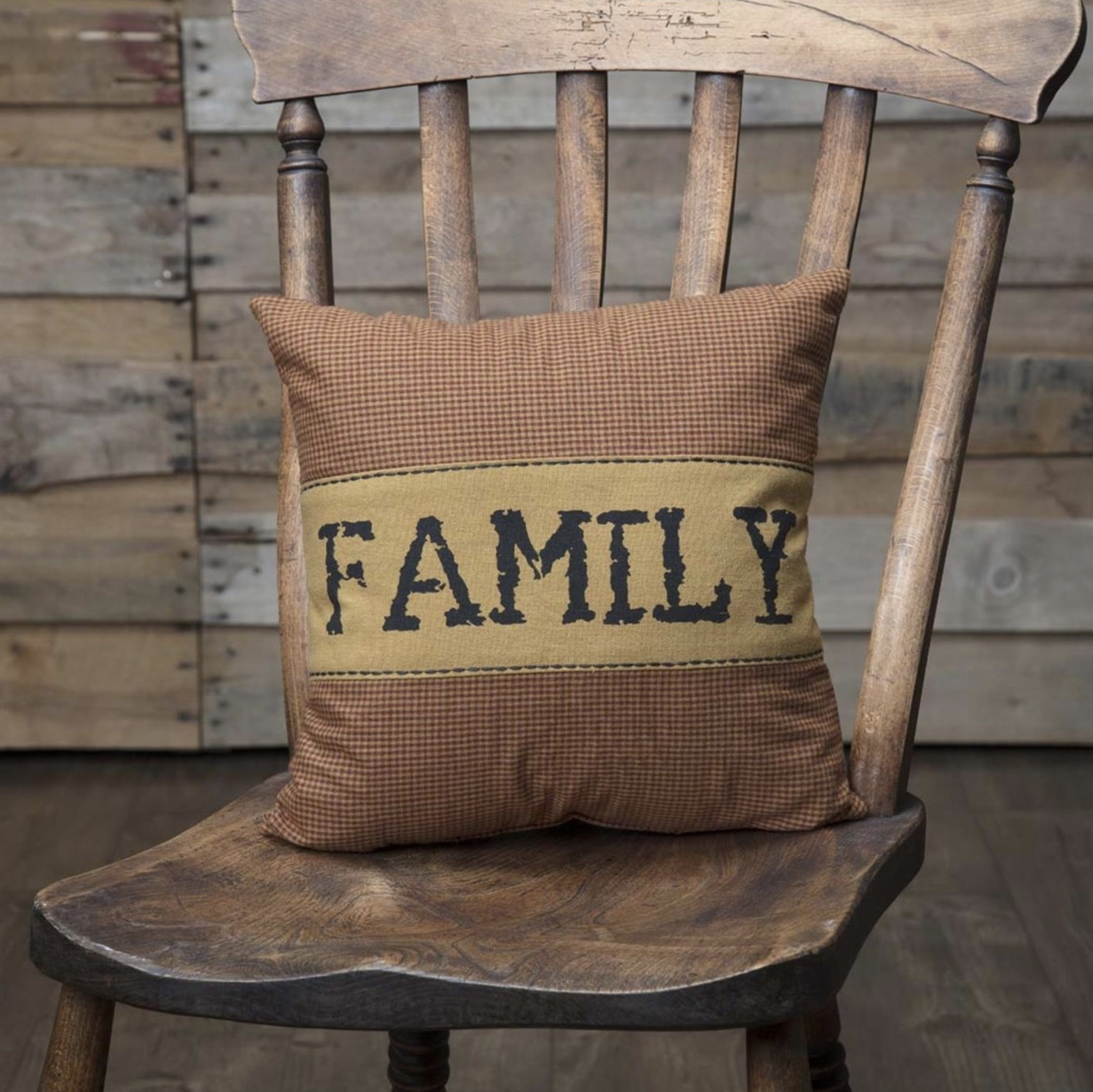 "VHC Brands Heritage Farms Family Pillow 12"" x 12"""