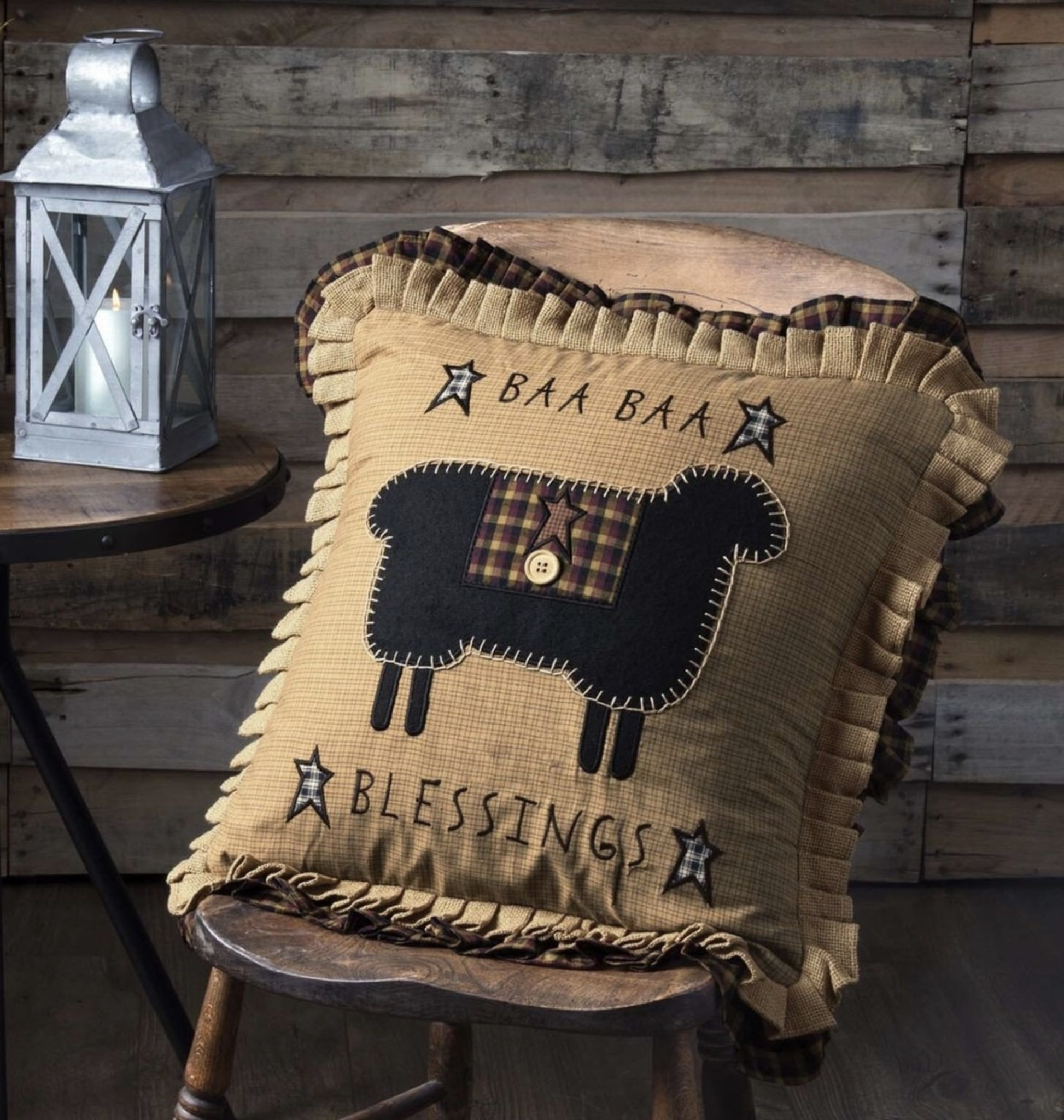 VHC Brands Heritage Farms Baa Baa Blessings Pillow