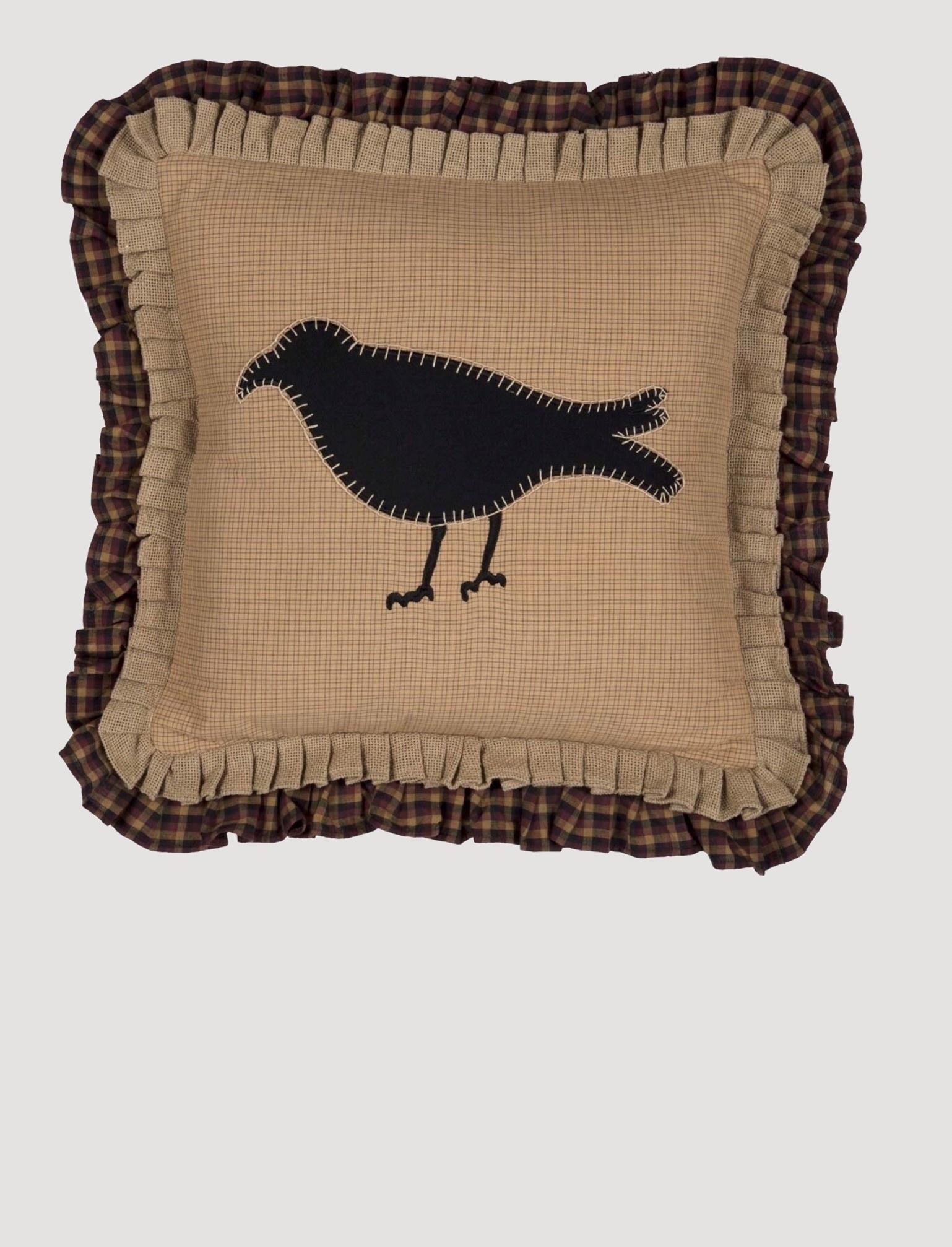 VHC Brands Heritage Farms Primitive Crow Pillow