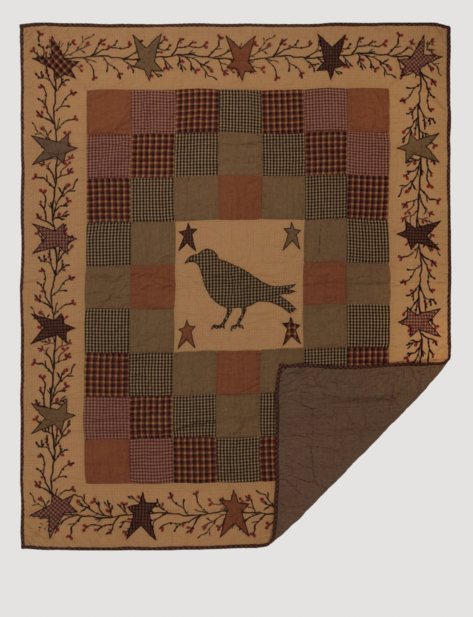 VHC Brands Heritage Farms Crow and Star Quilted Throw