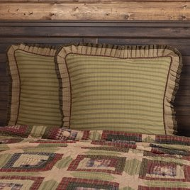 VHC Brands Tea Cabin Euro Sham Fabric Ruffled