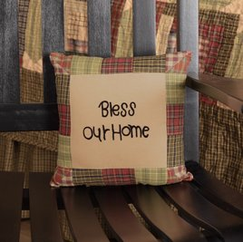 VHC Brands Tea Cabin Pillow Bless Our Home