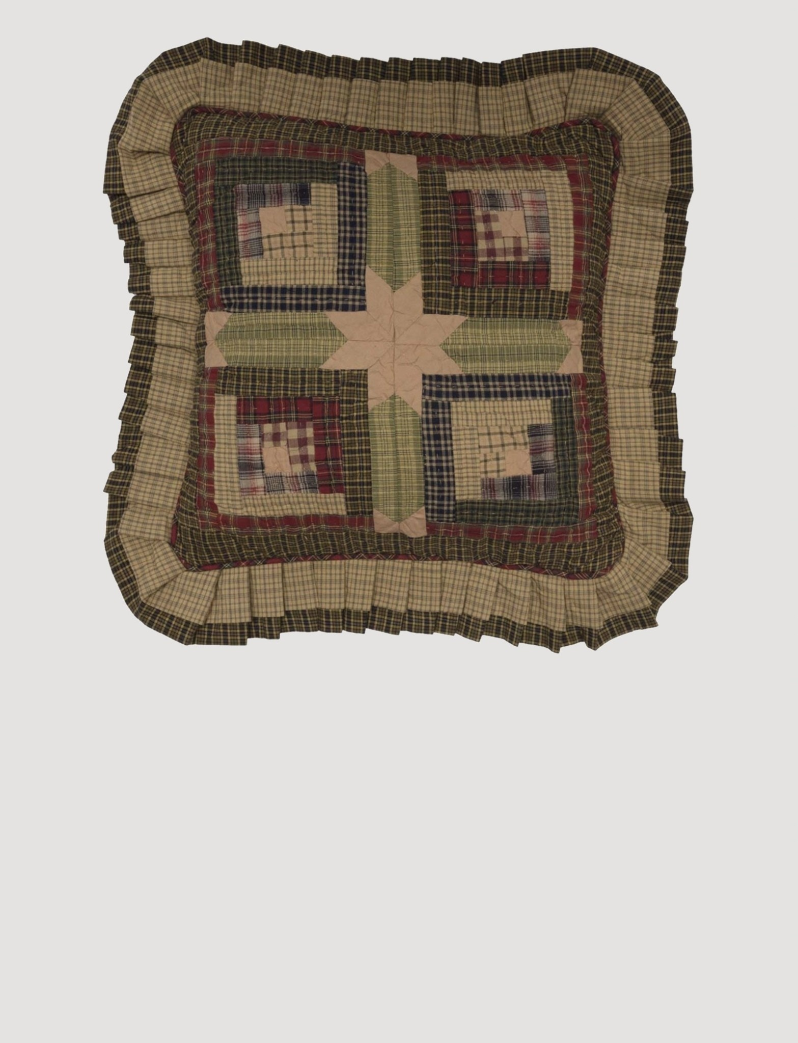 "VHC Brands Tea Cabin Quilted Pillow 16"" x 16"""