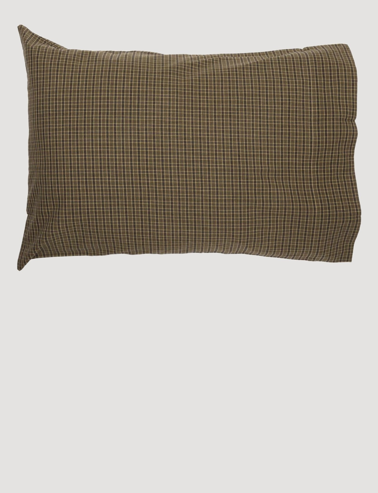 VHC Brands Tea Cabin Green Plaid Standard Pillow Case