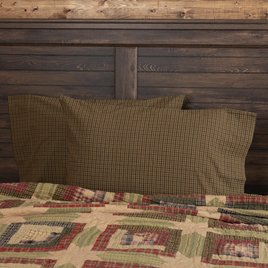 VHC Brands Tea Cabin Green Plaid Standard Pillow Case Set
